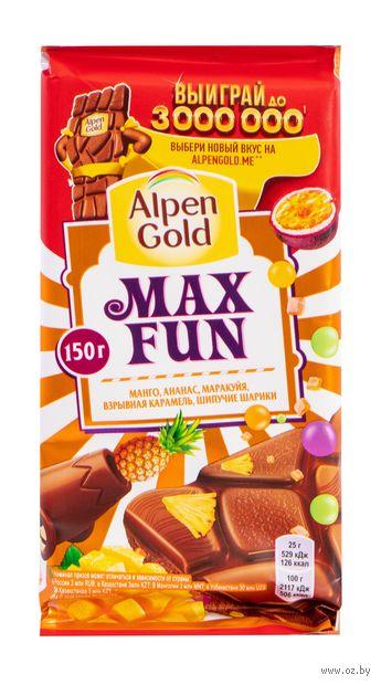 "Шоколад молочный ""Alpen Gold. Max Fun. Tropic Mix"" (160 г) — фото, картинка"