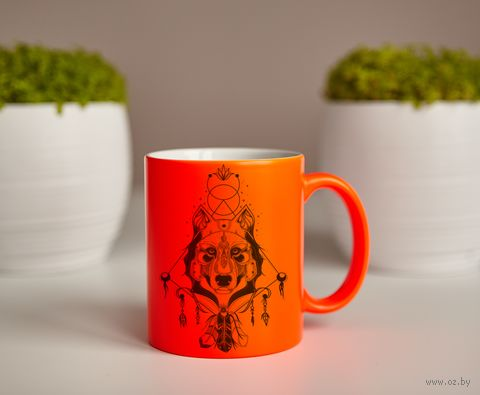 """Кружка """"Волк"""" (оранжевая) — фото, картинка"""