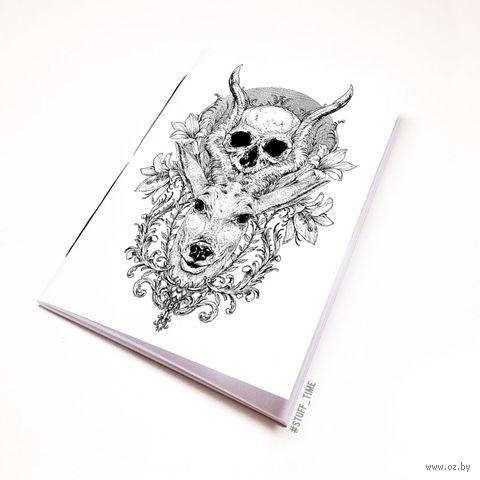 """Блокнот белый """"Косуля с черепом"""" А5 (арт. 458)"""