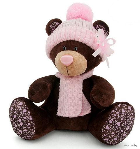 """Мягкая игрушка """"Медведь Milk в розовой шапке"""" (25 см)"""