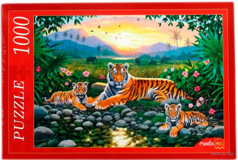 "Пазл ""Тигры на закате"" (1000 элементов) — фото, картинка"