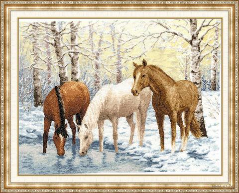 """Вышивка крестом """"Лошади у реки"""" (311х407 мм) — фото, картинка"""