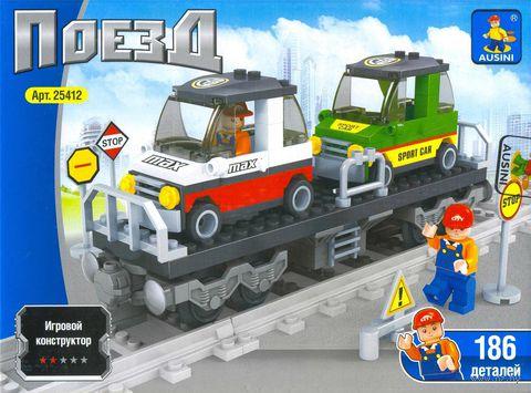 """Конструктор """"Поезд. Автомобильная платформа"""" (186 деталей) — фото, картинка"""