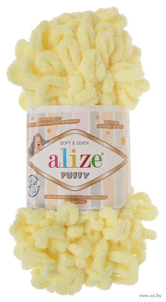"Пряжа ""ALIZE. Puffy №13"" (100 г; 9,2 м; желтый) — фото, картинка"