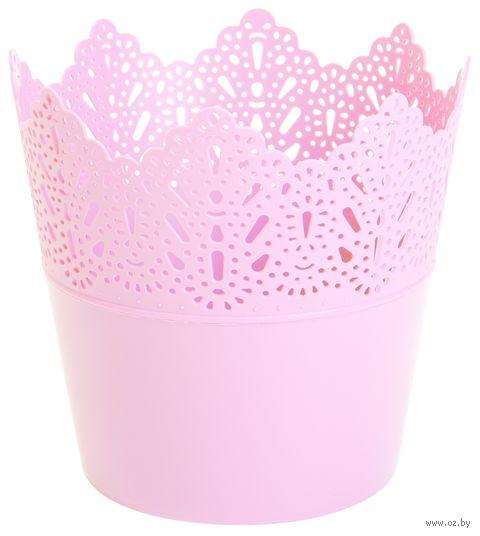 """Цветочный горшок """"Кружево"""" (12 см; розовый) — фото, картинка"""