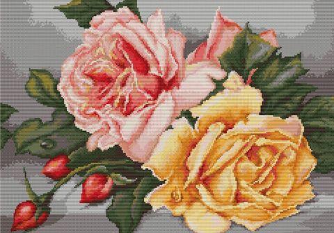 """Вышивка крестом """"Розы"""" (345х255 мм) — фото, картинка"""
