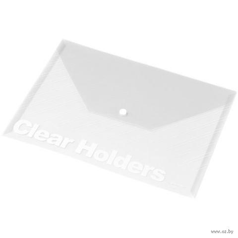 Папка-конверт на кнопке А4 (прозрачная)