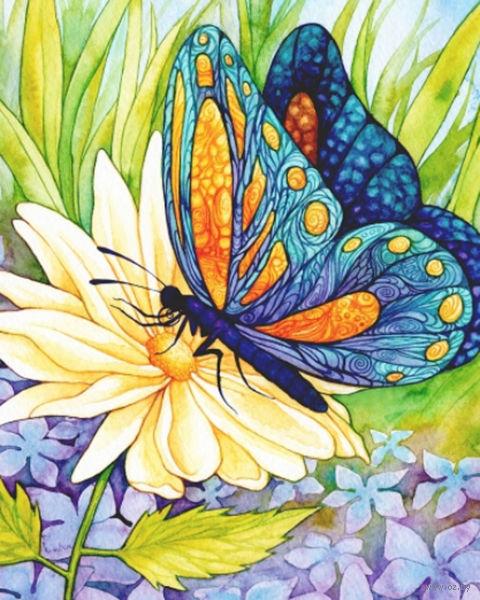 "Алмазная вышивка-мозаика ""Бабочка и цветок"" (300х370 мм) — фото, картинка"