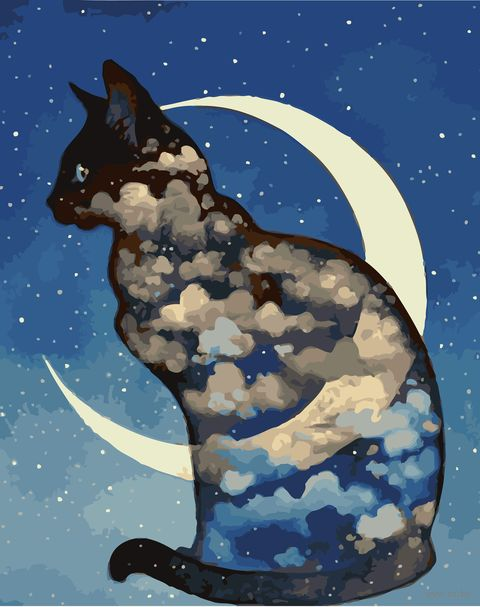 "Картина по номерам ""Лунный кот"" (400х500 мм) — фото, картинка"