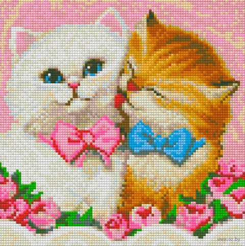 "Алмазная вышивка-мозаика ""Кот и кошка"" (250х250 мм) — фото, картинка"