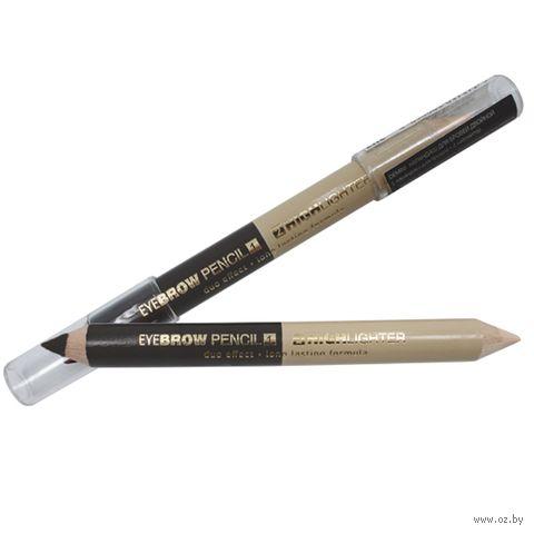 """Карандаш для бровей 2в1 """"Eyebrow Pencil and Highlighter"""" тон: 02; черный - золотистый — фото, картинка"""