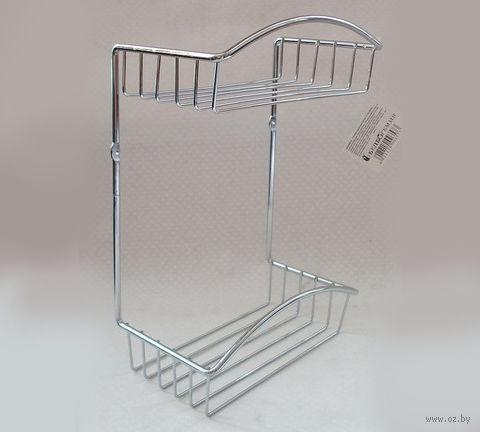 Полка для ванной металлическая 2-ярусная (33х22,8х12,7 см)