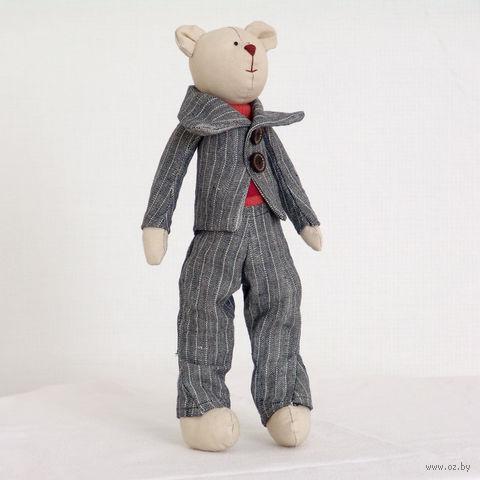 """Кукла ручной работы """"Мишка"""" (парень в сером костюме)"""
