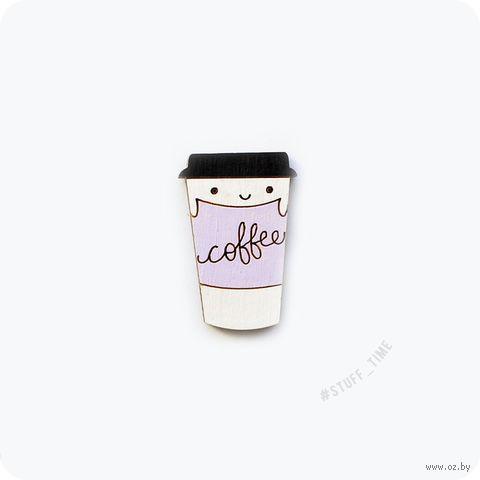 """Значок деревянный """"Кофе"""" (сиреневый; арт. 313) — фото, картинка"""