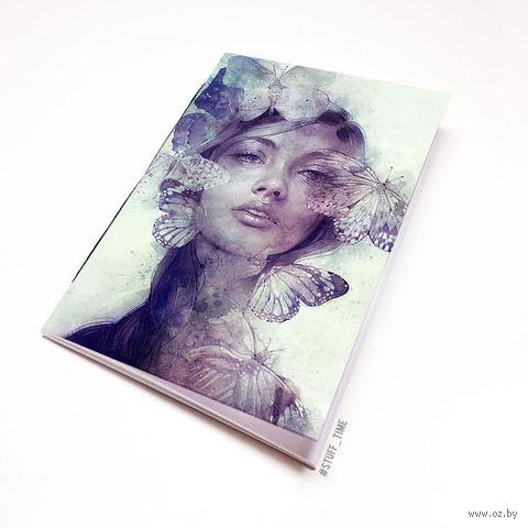 """Блокнот белый """"Девушка с бабочками"""" А5 (796)"""