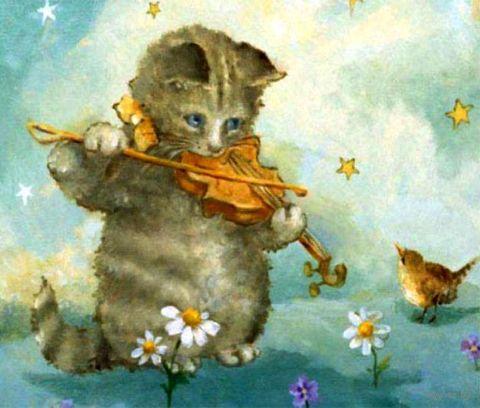 """Вышивка крестом """"Котёнок-скрипач"""" (454x635 мм) — фото, картинка"""