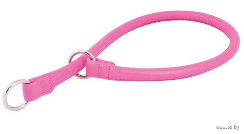 """Ошейник-удавка из натуральной кожи рывковый """"Glamour"""" (30х0,6 см; розовый) — фото, картинка"""