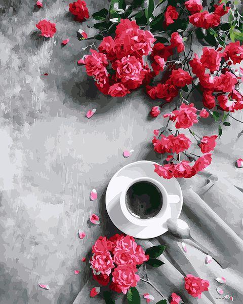 "Картина по номерам ""Кофе и цветы"" (400х500 мм) — фото, картинка"