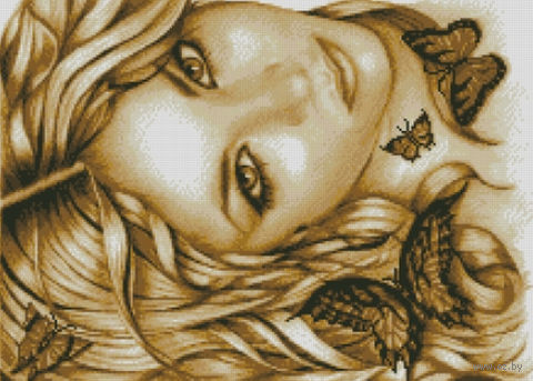"""Алмазная вышивка-мозаика """"Девушка с бабочками"""""""
