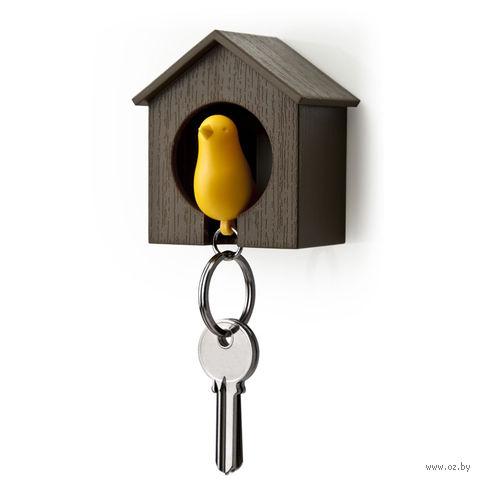"""Брелок-свисток и держатель для ключей """"Sparrow"""" (коричневый/желтый)"""