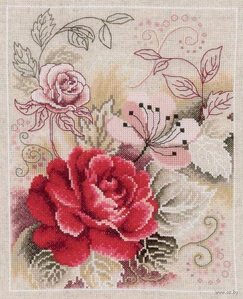 """Вышивка крестом """"Композиция с розой"""" (220x280 мм) — фото, картинка"""