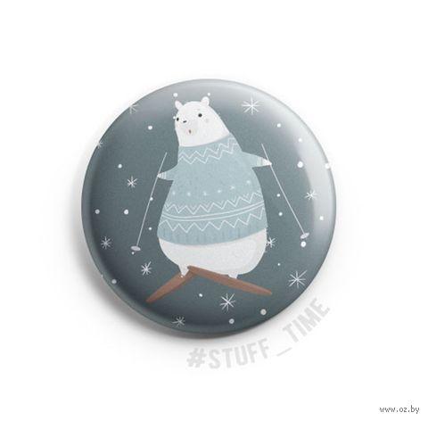"""Значок маленький """"Медведь на лыжах"""" (арт. 970) — фото, картинка"""