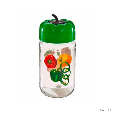 """Банка для сыпучих продуктов стеклянная с пластмассовой крышкой """"Перец"""" (720 мл)"""