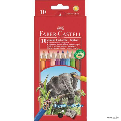 Цветные карандаши JUMBO в картонной коробке (10 цветов + точилка)