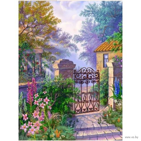 """Алмазная вышивка-мозаика """"Калитка в саду"""""""