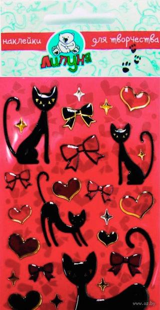 """Наклейки гелевые """"Кошки и сердца"""""""