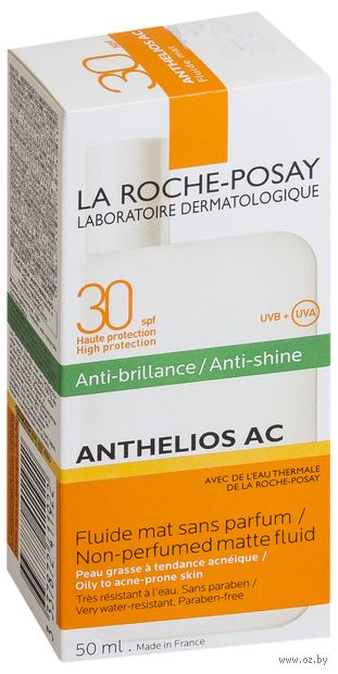 "Флюид солнцезащитный для лица ""Anthelios AC. Матирующий"" SPF 30 (50 мл) — фото, картинка"