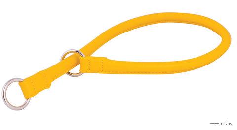 """Ошейник-удавка из натуральной кожи рывковый """"Glamour"""" (35х0,8 см; желтый) — фото, картинка"""
