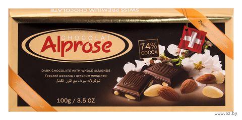 """Шоколад горький """"Alprose. С цельным миндалем"""" (100 г) — фото, картинка"""