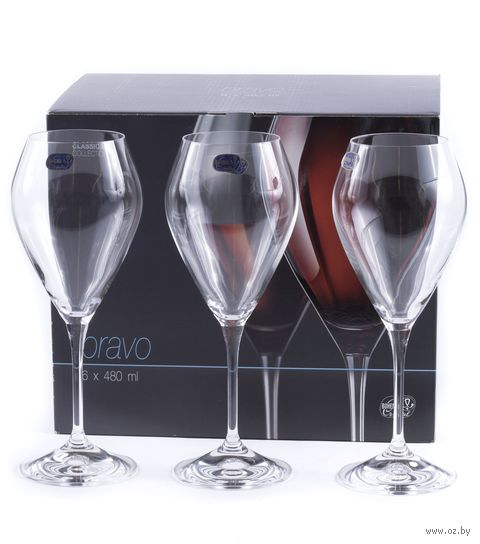 """Бокал для вина стеклянный """"Bravo"""" (6 шт.; 480 мл) — фото, картинка"""