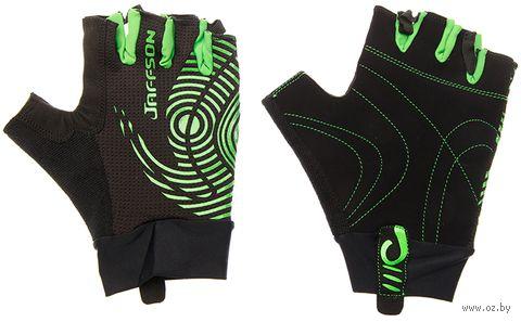 """Перчатки велосипедные """"SCG 46-0336"""" (XL; чёрно-зелёные) — фото, картинка"""